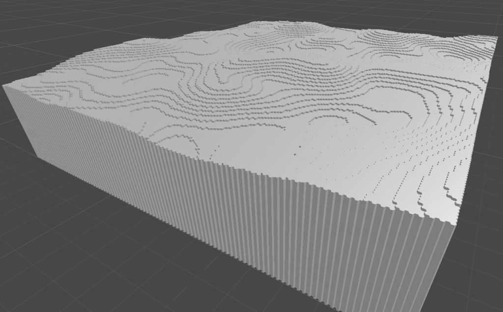 First Unity-Screenshot of a dynamically generated and rendered 3d voxel world.