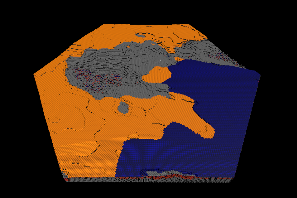 An example terrain with the now hexagonal shape.