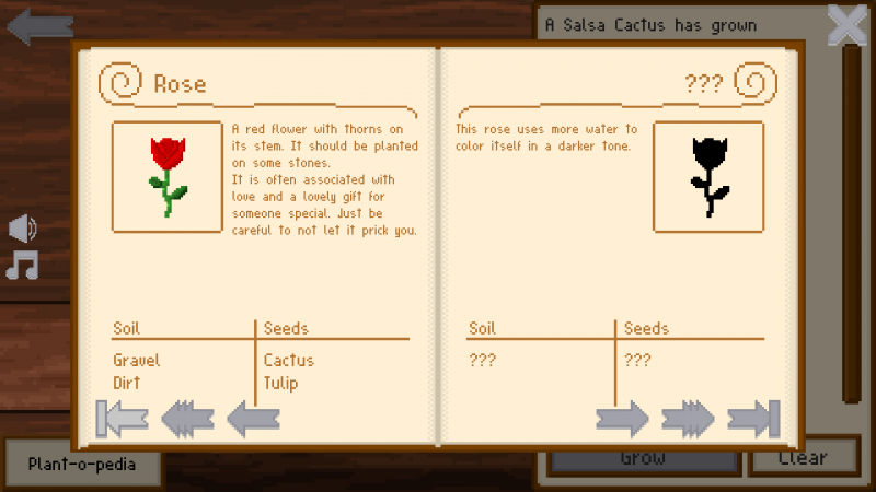 A game displaying multiple flowers with descriptions and instructions in a book.