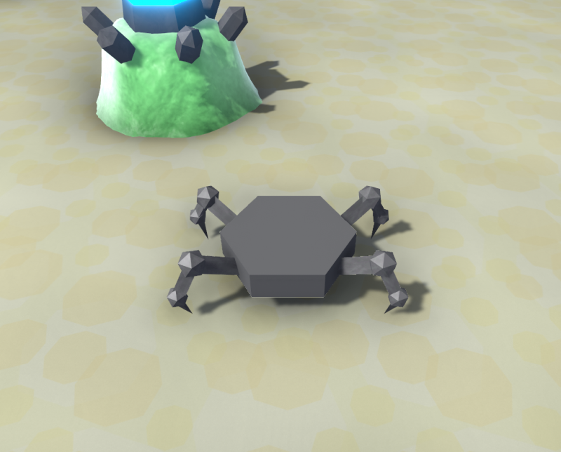 The base of a robot with 4 spider-like legs.