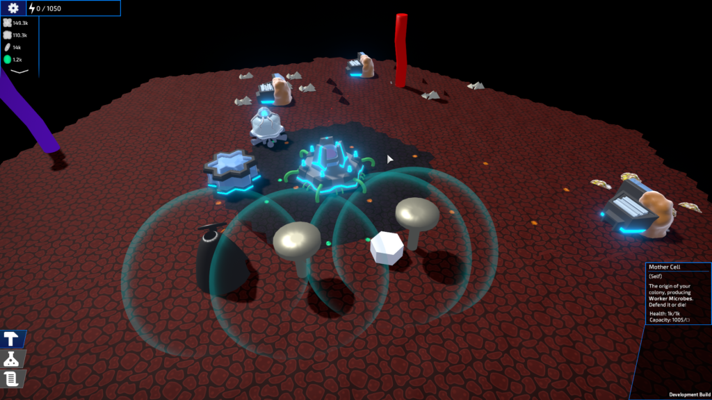 A image of a simple base with the mother cell in the middle, mining cells near resources and a basic electricity generator set up.